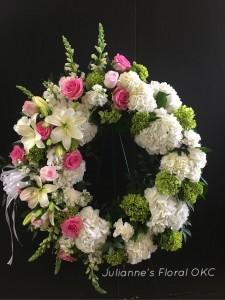 JFD Sweet Beauty Wreath 1008 Sympathy in Oklahoma City, OK | JULIANNE'S FLORAL DESIGN