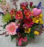 """FROM THE HEART"" Bright Mixed flowers arranged in  vase."
