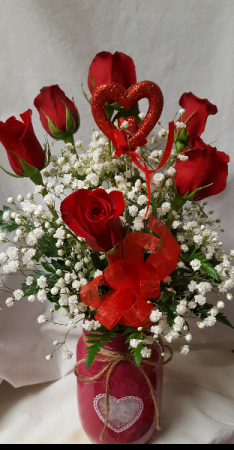 """""""JAR OF HEARTS"""" A heart MASON  Jar filled with 6 Red Roses, baby's breath, and heart pic!"""