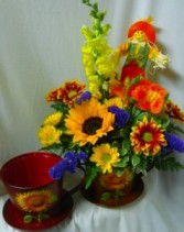 Sunflower Tin Tea Cup filled with seasonal flowers with a scarecrow pic for fall! (Nice keepsake to put a 4