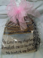 Sympathy Tapestry Colorful Throw 23rd Psalm The Lord is my Shepherd.  Nice Keepsake. Wrapped in clear plastic with a large bow.
