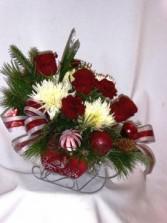 JINGLE BELLS SLEIGH Christmas Flowers & Roses Christmas Roses, Christmas Flowers, Christmas Centerpieces,  Christmas Candle Centerpieces, Christmas Arrangements