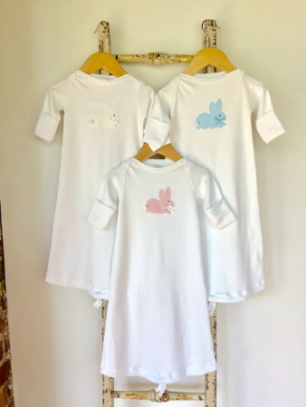 JJ Newborn Gown with Bunny Applique Baby Gift