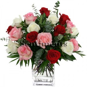 Happy 21st! 21 Roses of red, pink and white all arranged in a vase with baby's breath.