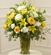 BRIGHT SUNSHINE SYMPATHY ARRANGEMENT Mixed shades of seasonal yellows and whites in a vase