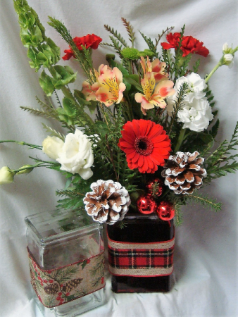 HOLIDAY CHEER ARRANGEMENT IN CUTE RIBBON DETAIL RECTANGULAR VASE...RED AND WHITE AND GREEN COLORS!