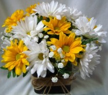 21 DAISIES... YELLOW AND WHITE BLOOMS HAPPY 21ST!!! ARRANGED IN A CUBE VASE WITH BABY'S BREATH AS FILLER