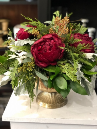 JOLLY BURGANDY CHRISTMAS ARRANGEMENT ELEGANT AND MIXTURE FLOWERS