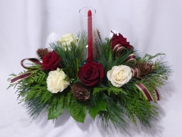 JOLLY CHRISTMAS CENTERPIECE WITH HURRICANE HOLDER Christmas Centerpieces, Christmas Flowers