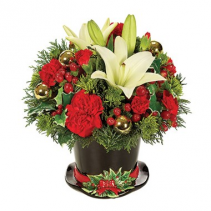 Jolly Holiday Wishes Planter Arrangement