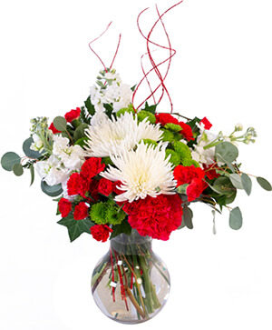 Jolly Red & White Christmas Flower Arrangement in Nevada, IA | Flower Bed