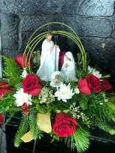 Joseph, Mary & baby Jesus Holiday Arrangement