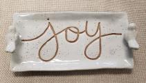 """Joy"" Ceramic Tray with Birds"
