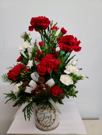 Christmas Joy OR Peace on Earth  Fresh flower arrangement