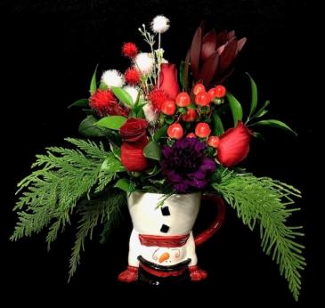 Joy! Christmas Mug with Red Roses