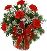 JOY OF GIVING  6 carnations  VASE