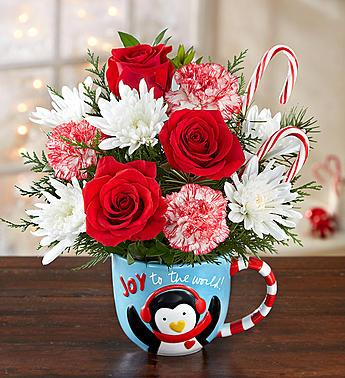 Joy to the World Penguin Mug Bouquet