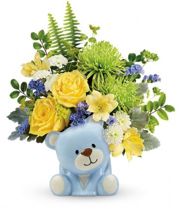 Joyful Blue Bear  All-Around Floral Arrangement