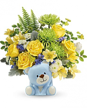 Joyful Blue Bear Arrangement in Warrington, PA   ANGEL ROSE FLORIST INC.