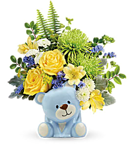 Joyful Blue Bear Bouquet Teleflora in Springfield, IL | FLOWERS BY MARY LOU