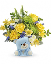Joyful Blue Bear New Baby Boy Flowers