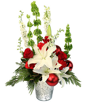Joyful Christmas Bells Holiday Flowers in Ellisville, MO | West County Florist