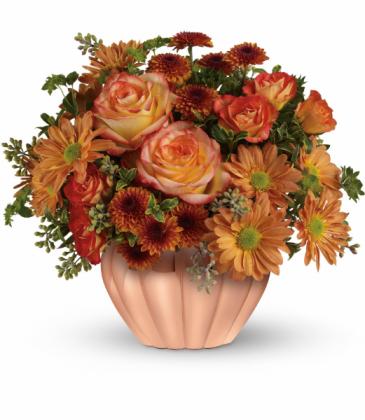 Joyful Hearth Bouquet One-Sided Floral Arrangement