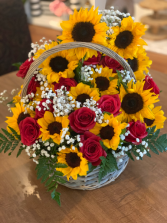 Joyful Joyful Rose & Sunflower Basket