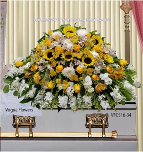 Joyful Memories (White and Yellow) Casket Spray in Williston Park, NY | VOGUE FLOWERS