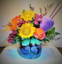 J.Rae Pottery Knitting Bowl of flowers J.Rae Pottery