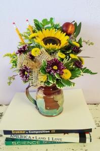 J.Rae Pottery Mug of flowers J.Rae Pottery