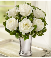 Julep Cup White Roses Arrangement