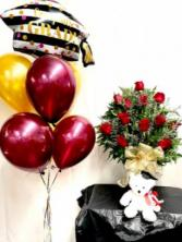 Jumbo Grad Special flowers and balloons