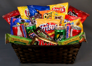 Junk Food Basket Basket in Winston Salem, NC | RAE'S NORTH POINT FLORIST INC.