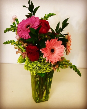Just Because Contemporary Design Mixed Floral with Red, Pinks and Greens in Plainview, TX | Kan Del's Floral, Candles & Gifts