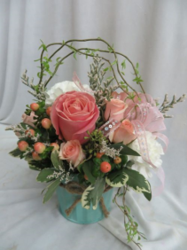 Just Peachy Fresh Mixed Flowers in a  Pastel  Pot
