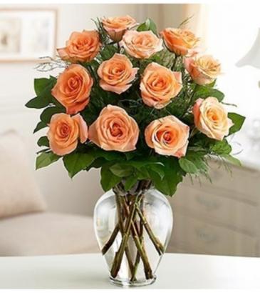 Peach Dozen Roses $75.95, $85.95, $100.95