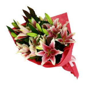 Just Wrapped Lilies European Hand Tied Cut Bouquet (no vase)