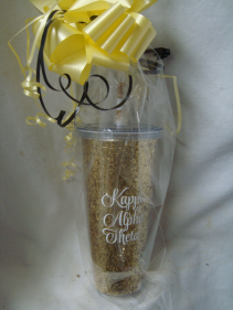 Kappa Alpha Theta Gold Sparkle tumbler to send with a cute Yellow and Black flower arrangement for Kappa Alpha Theta!
