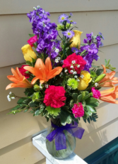 Kara's colorful flowers  vase arrangement