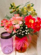 3 Alstroemeria Lillieswith filler in a mason jar!! Beautiful and Local Grown!!