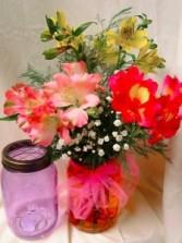 Alstroemeria Lillieswith filler in a mason jar!!