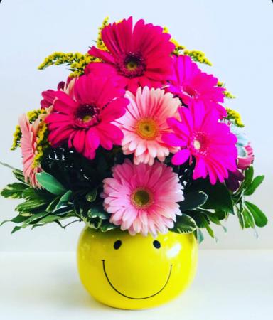 KEEP SMILING BOUQUET  Happy Face Vase Floral Arrangement