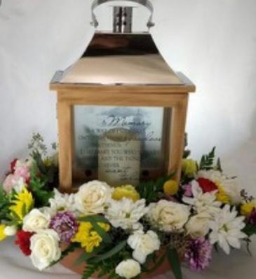 Keepsake Lantern With Ring of Fresh Flowers