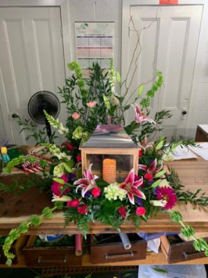 Keepsake Memory Lantern  Wreath Pedestal Arrnagment in Selma, NC   SELMA FLOWER SHOP