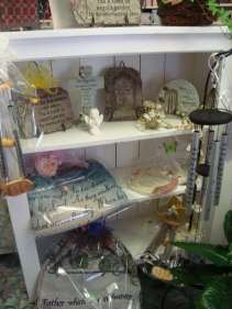 Keepsake sympathy chimes, throws, stones, angels,  in stock. Call for more information.