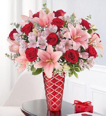 Key to My Heart Crystal cut vase arrangement