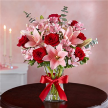 Key To My Heart® in a clear vase Arrangement