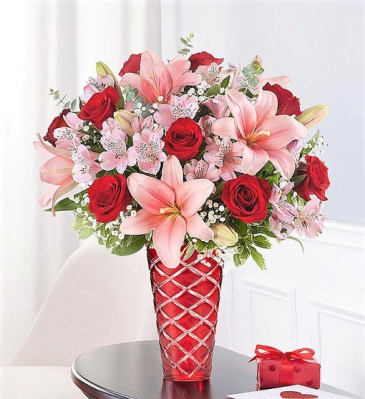 Key to My Heart In Brilliant Ruby Cut Glass Vase