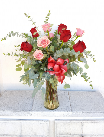 Key to my Heart Pink and Red Dozen Roses